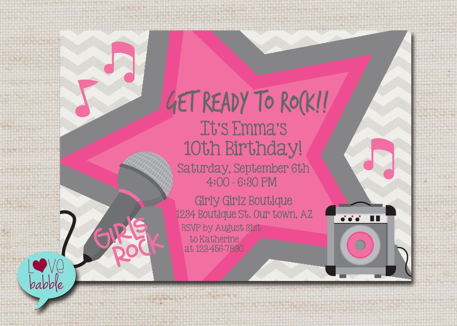 Rock star party, karaoke party, super star party invitation ...