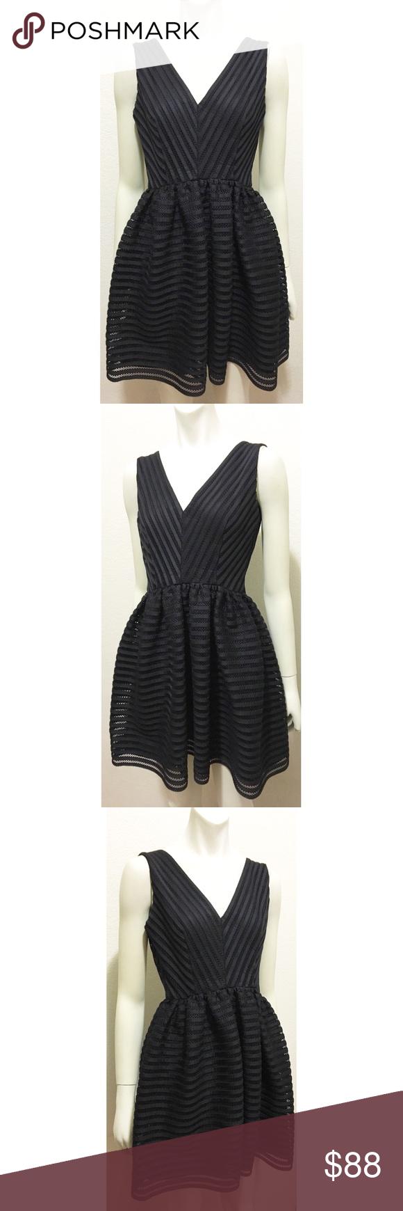 d8ac847bdf7 AQUA Small Black Mesh Neoprene Striped Dress