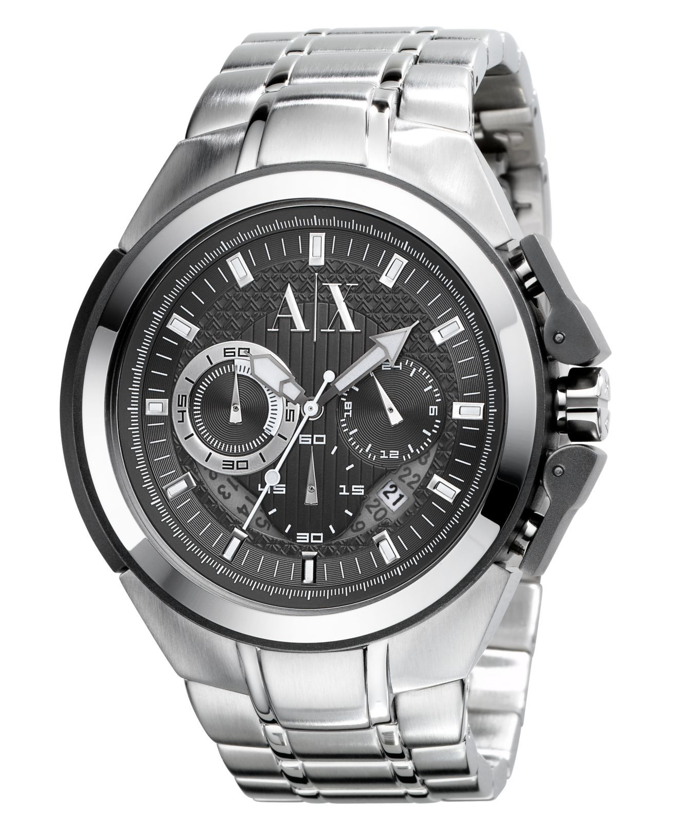 f787f5350 A|X Armani Exchange Watch, Men's Stainless Steel Bracelet 45mm AX1039 - All  Watches - Jewelry & Watches - Macy's