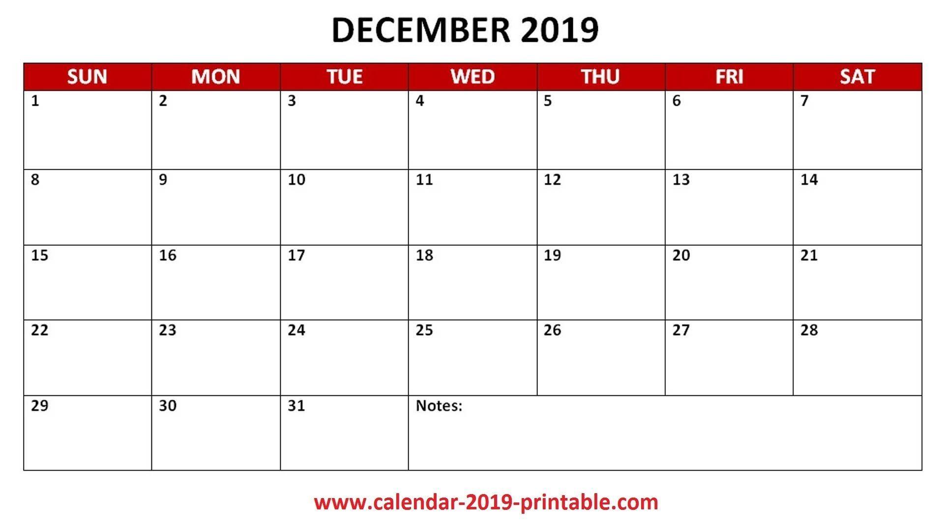 2019 December Pdf Monthly Calendar 2019 Calendars Calendar