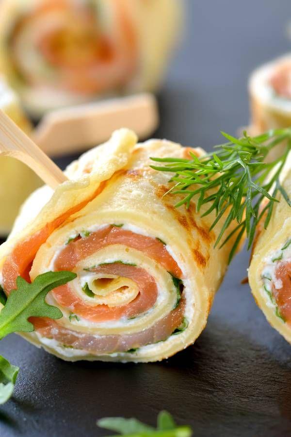 Pfannkuchen-Röllchen mit Lachs und Frischkäse #creamcheeserecipes