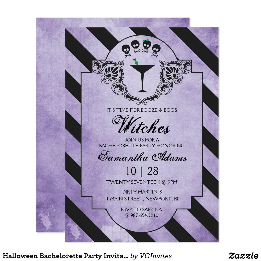 Halloween Bachelorette Party Invitation - Purple | Bachelorette ...