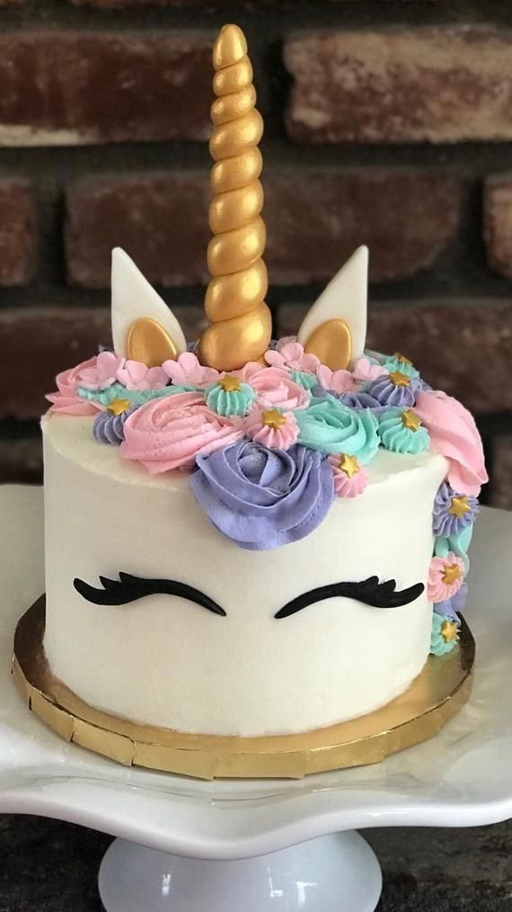 unicorn cake topper, horn, ears and lashes in metallic gold or custom colors, FREE FAST SHIPPING! -   5 cake Unicorn betun ideas