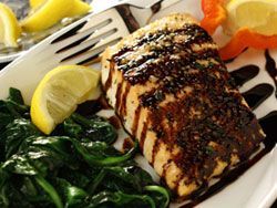 Balsamic Glazed Salmon | mrfood.com Added some goat cheese and sun dried tomatoes and it was unbelievably delicious,