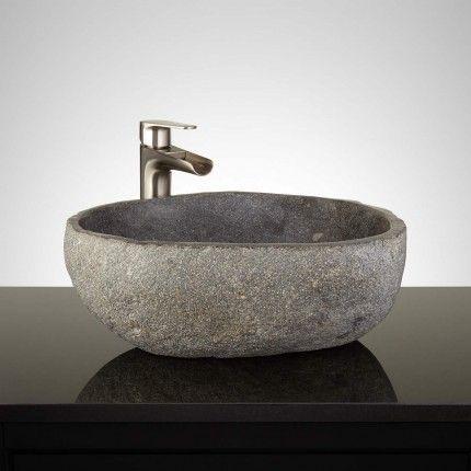 De Chelly Dark Gray River Stone Vessel Sink Bathrooms Pinterest