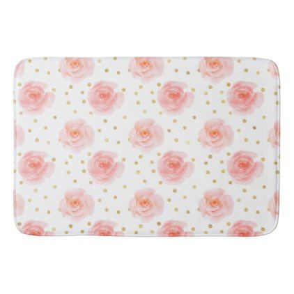 Gold Confetti Pink Watercolor Roses Bathroom Mat - rose gold style - confeti