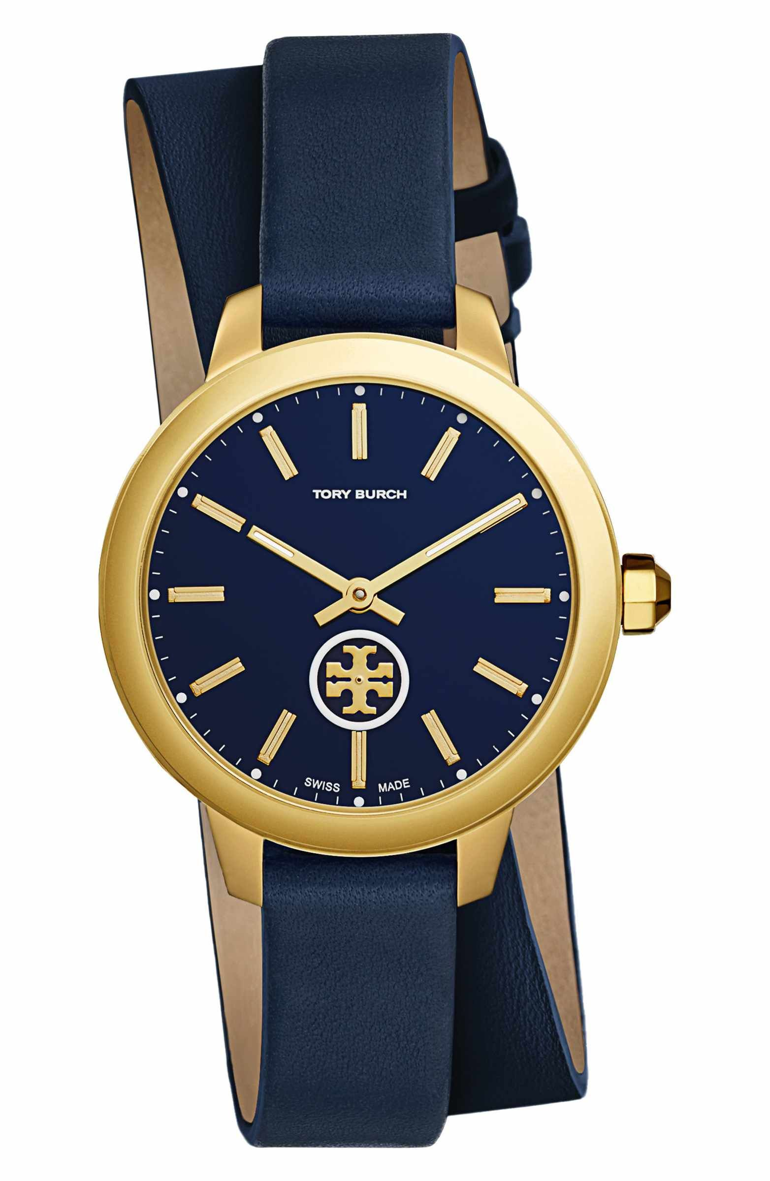 9ec758b07 Main Image - Tory Burch Collins Double Wrap Leather Strap Watch, 38mm
