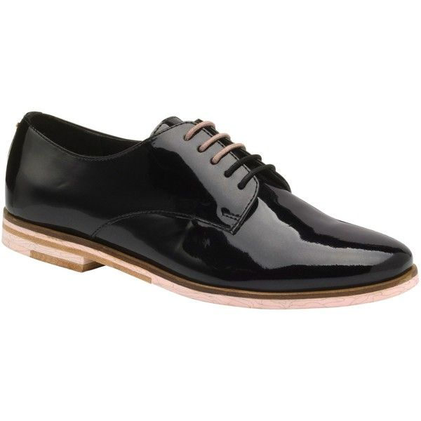 Ted Baker Loomi Lace Up Brogues, Black ($120) ❤ liked on Polyvore featuring shoes, oxfords, black, balmoral oxfords, two tone oxfords, leather flat shoes, black brogues and black oxfords