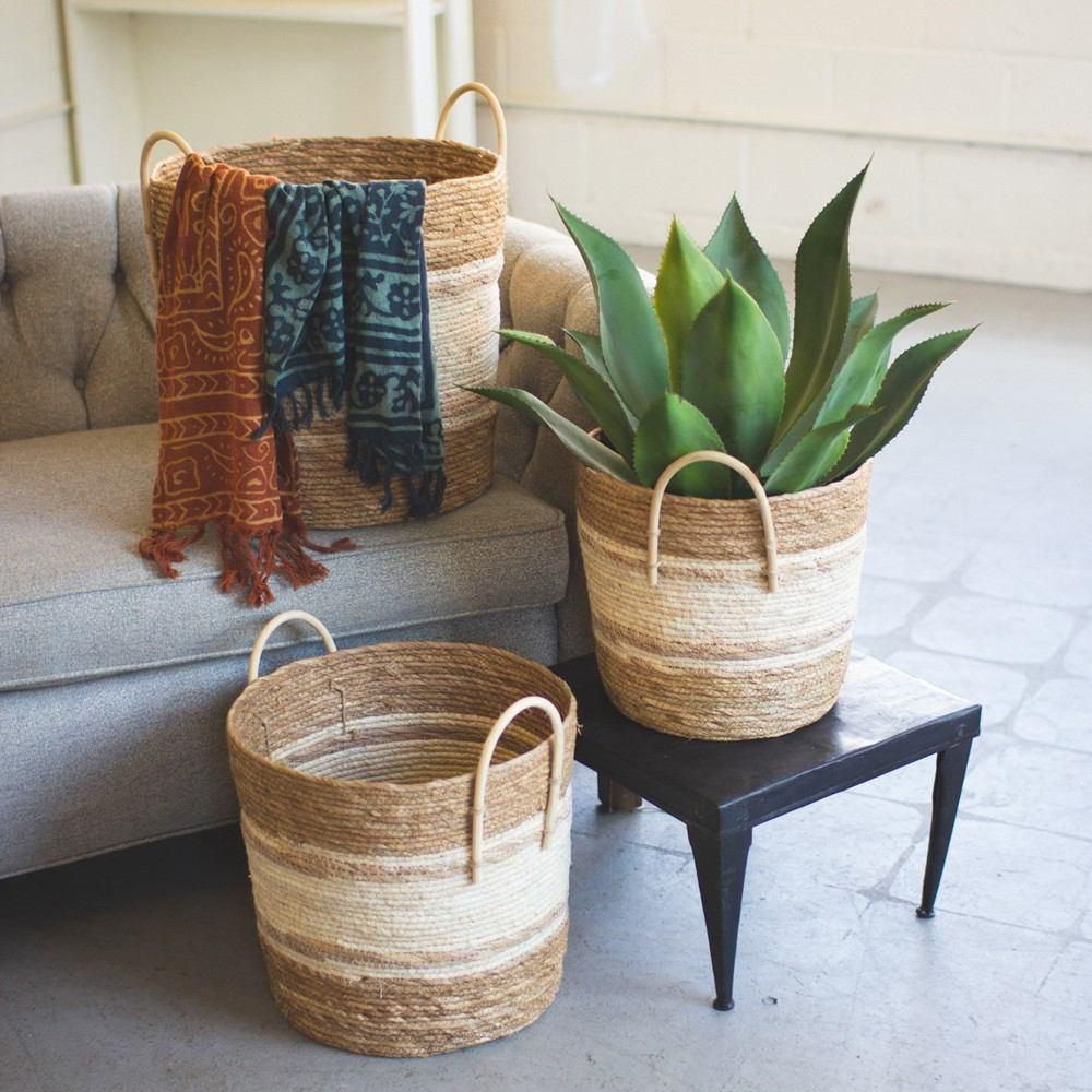 Kalalou Set Of 3 Two Toned Natural Round Baskets Round Basket Basket Sets Basket