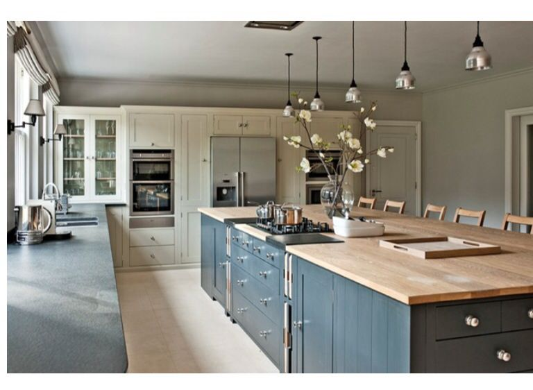 Grey Island Almond Units And Beech Worktops Contemporary Kitchen Kitchen Layout Kitchen Island With Cooktop