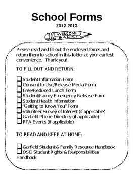Editable School Forms Checklist  First School Days