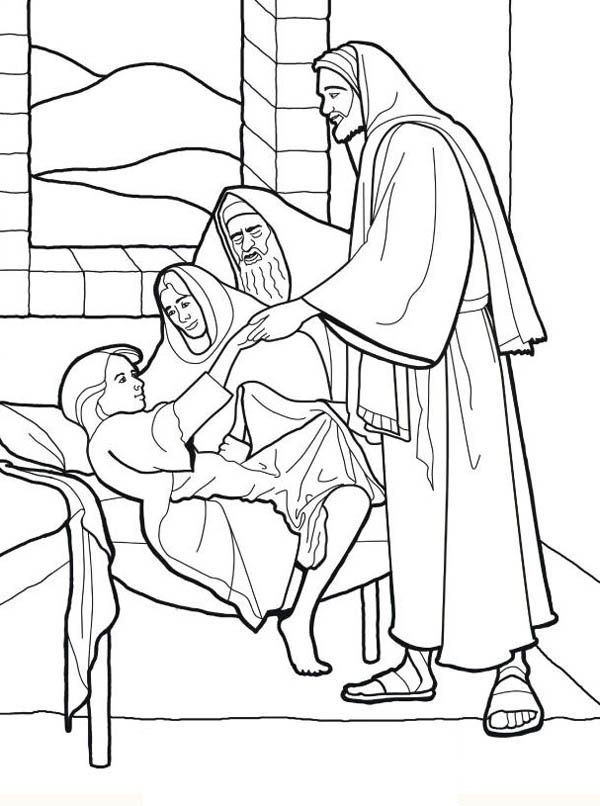 Sick Girl Who Healed By Miracles Of Jesus Coloring Page Jesus Coloring Pages Miracles Of Jesus Christian Coloring