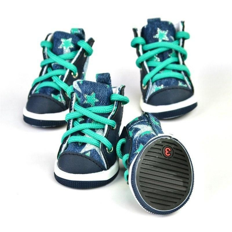 382b1cc628a8 Converse Dog Shoes - Denim and Green Stars Dogs will look hip and fabulous  in these