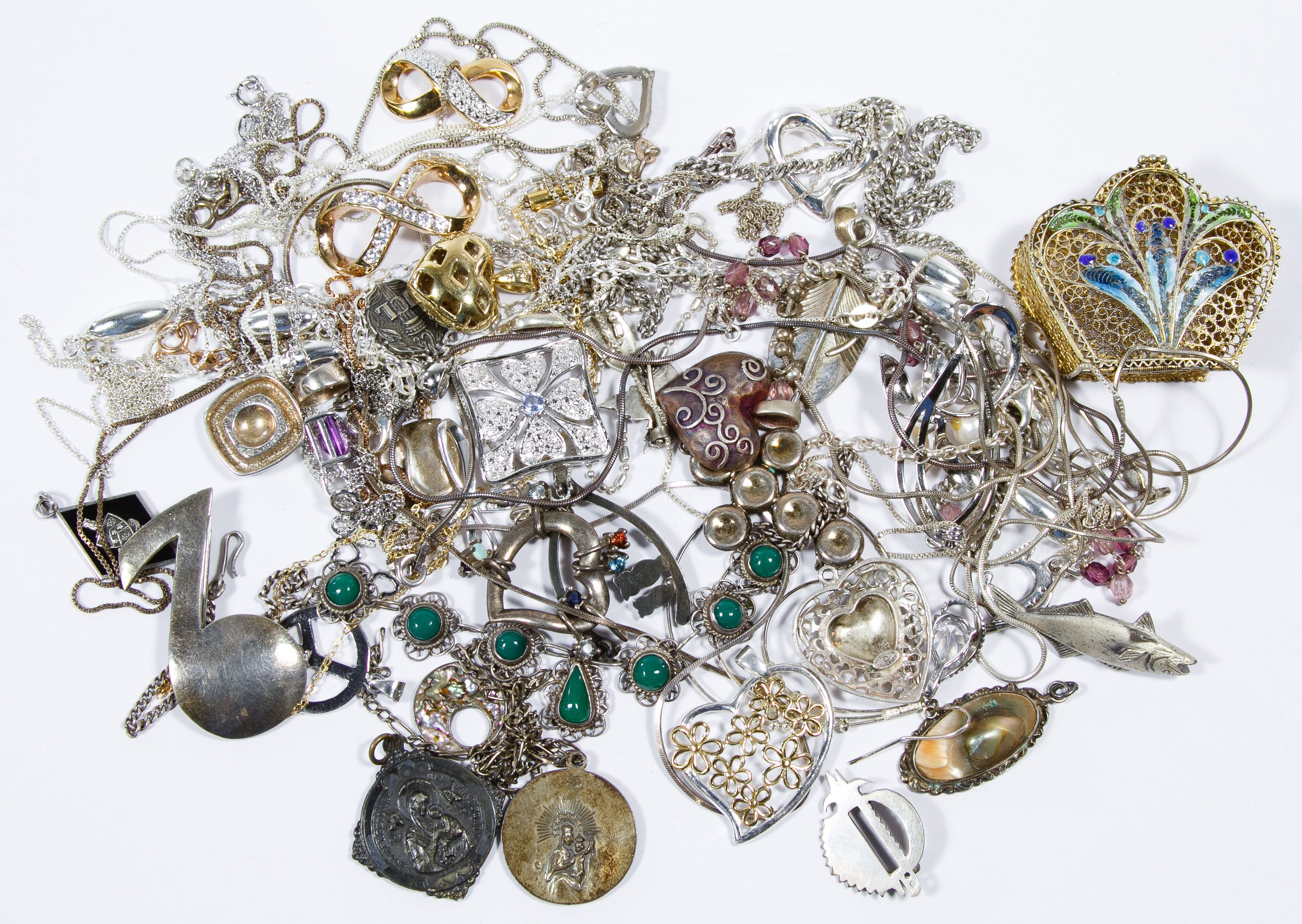 3c282f662 Lot 380: Sterling Silver Jewelry Assortment; Including necklaces, pendants,  charms and pins; most marked 925 or sterling; together with (.800) silver  ...