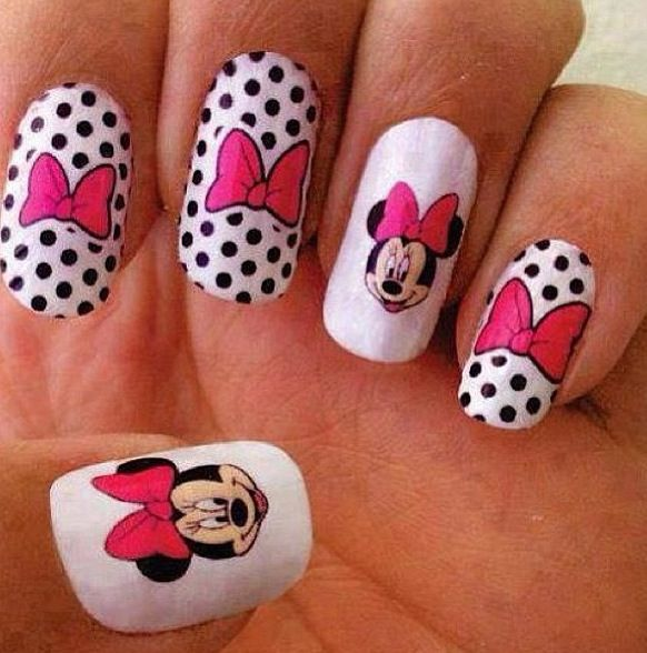 Minnie Mouse nails. CUTE!   Minnie and Mickey Mouse   Pinterest