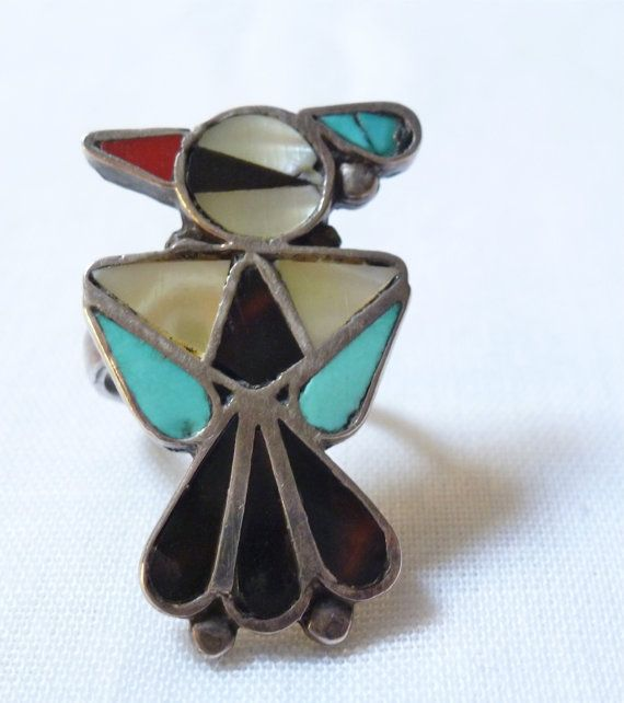 vintage Zuni large THUNDERBIRD STERLING ring by jewelsnknicknacks