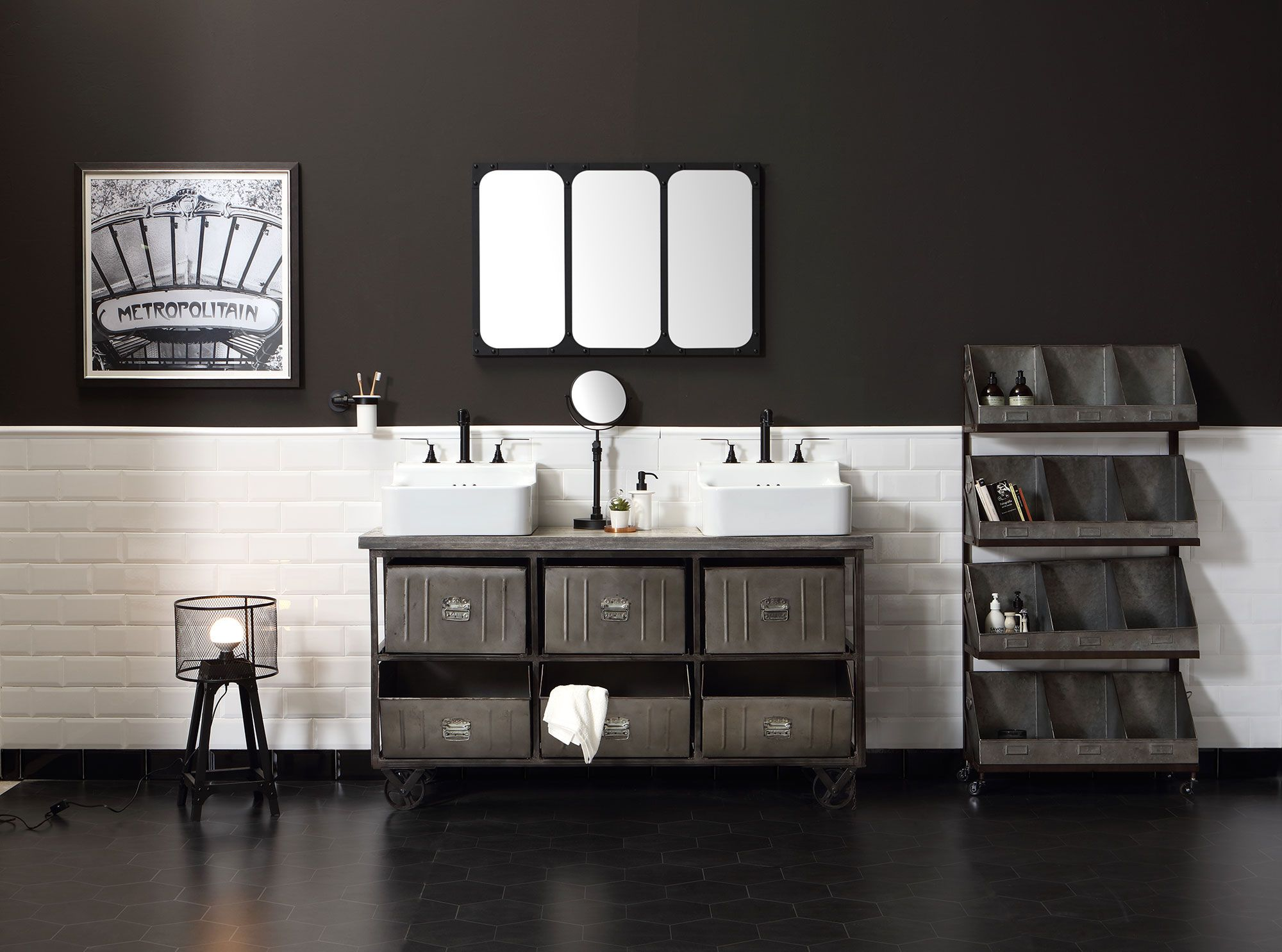 Meuble de salle de bain de style industriel collection - Meuble de salle de bain style retro ...