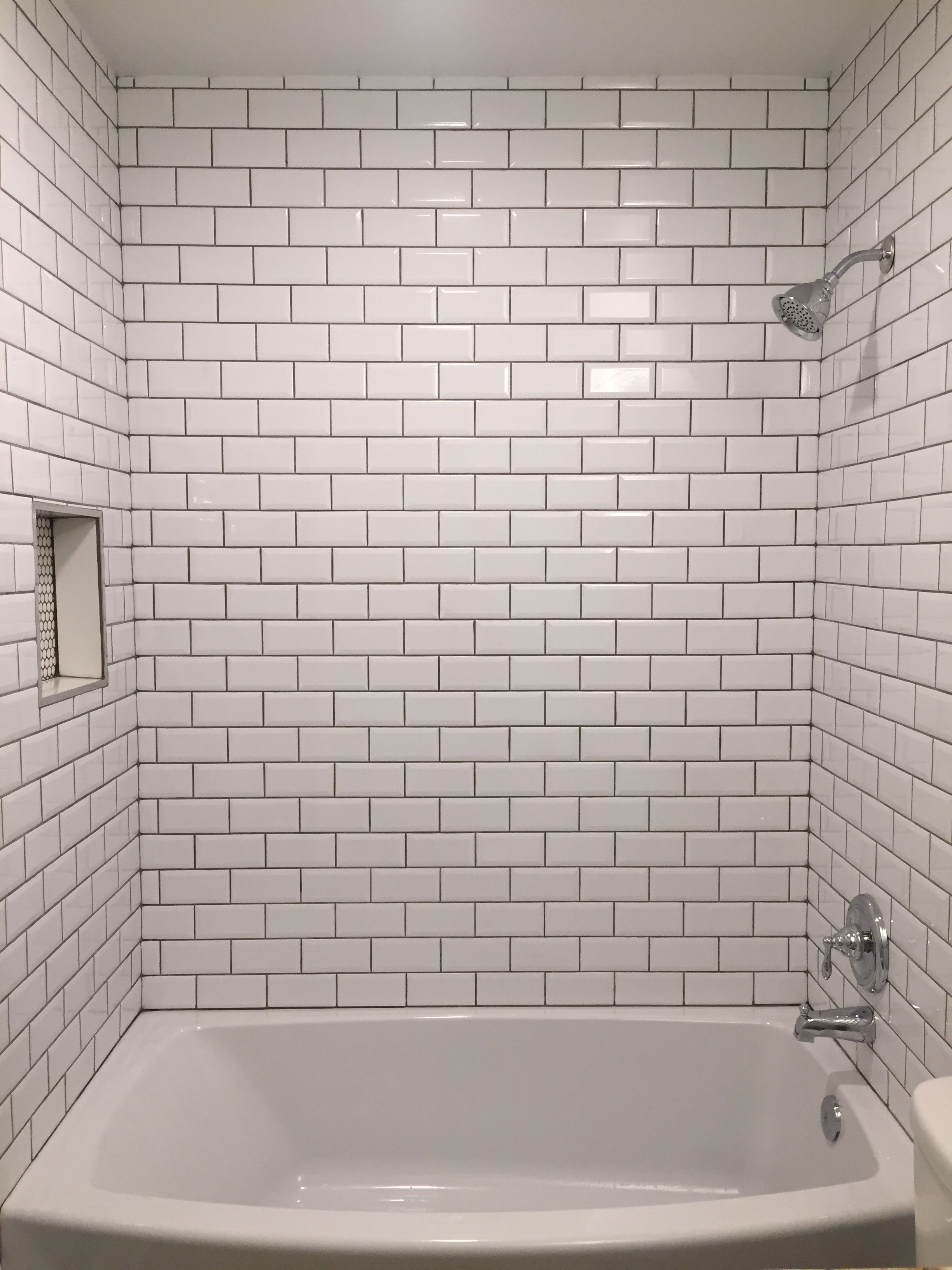 Beveled Bright White Subway Tile With Mapei Grey Grout
