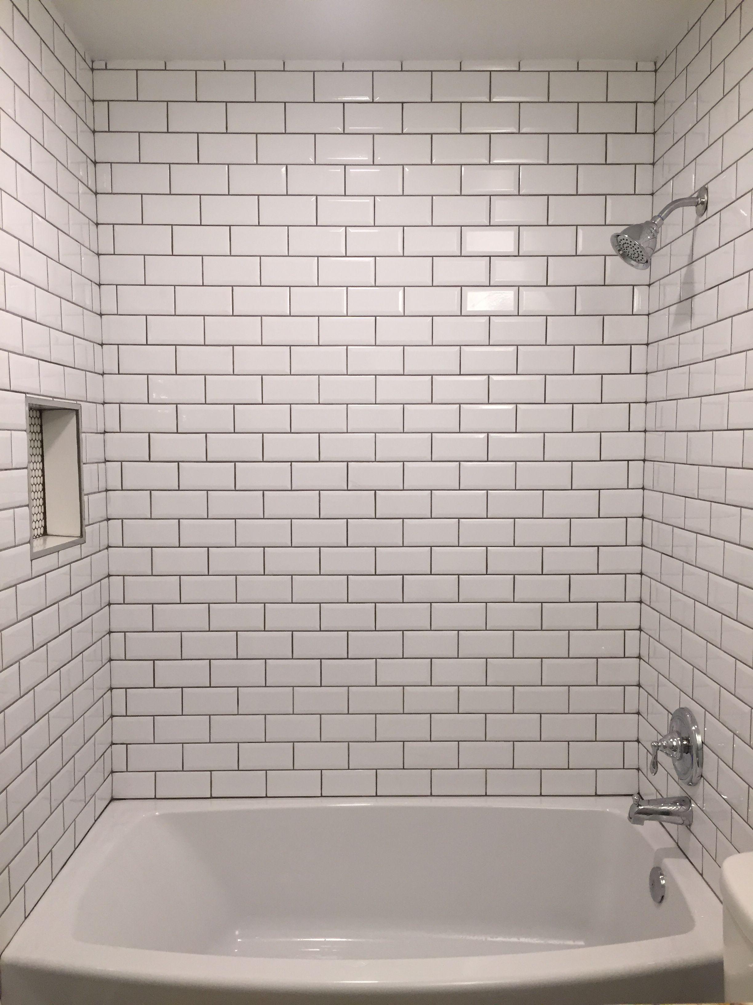 Beveled Bright White Subway Tile With Mapei Grey Grout White Subway Tile Bathroom Grey Grout Bathroom White Tiles Grey Grout
