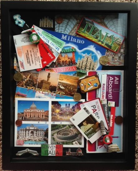 Shadow Box From My Trip To Italy Travel Shadow Boxes Travel Keepsakes Scrapbooking Layouts Travel