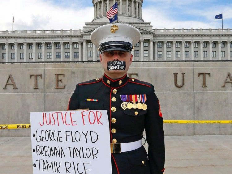 Us Marine Veteran Stood Outside Utah State Capitol With The Words I Can T Breathe Taped Over His Mouth Insider Black Lives Matter Art Black Lives Matter Quotes Black Lives