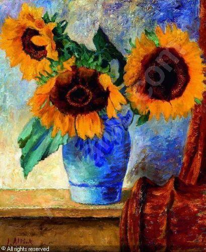 Jan Altink (1885-1971) was een der veelzijdigste schilders uit het Hollandse Expressionisme. Hij stamde uit een veehoudersgezin en kreeg zo zijn voorkeur voor het plattelandsleven mee. In mei 1918 was hij een van de oprichters van de bekende Groningse kunstenaarsgroep De Ploeg. Beïnvloed door de 5 jaar jongere Jan Wiegers gaf Altink, nam hij het heftiger kleurenpalet van het Expressionisme over, toch emotioneel ingetogen verbonden blijvend aan het Groningse landschap