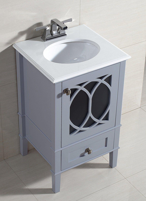 Simpli Home Paige 20 Bath Vanity With White Quartz Marble Top Grey