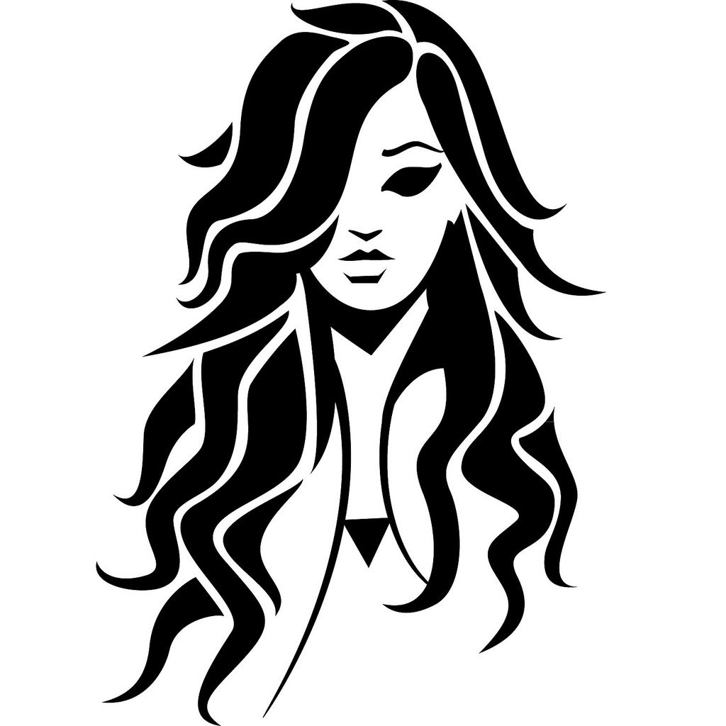 Girl With Black Hair Vector Image In