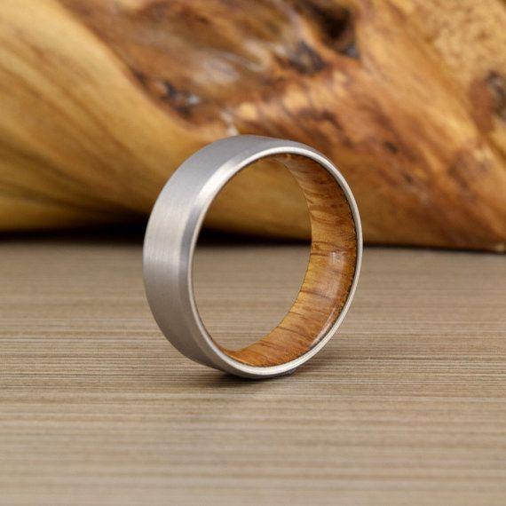Engagement Ring Titanium Ring Ring for Women Wedding Ring Ring for Gift Titanium Ring with Oakwood Rustic Ring Ring for Men