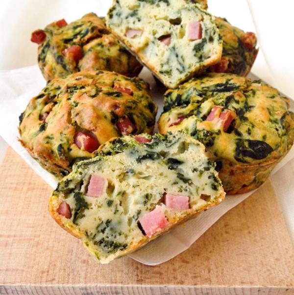 Muffin salati cotto e spinaci