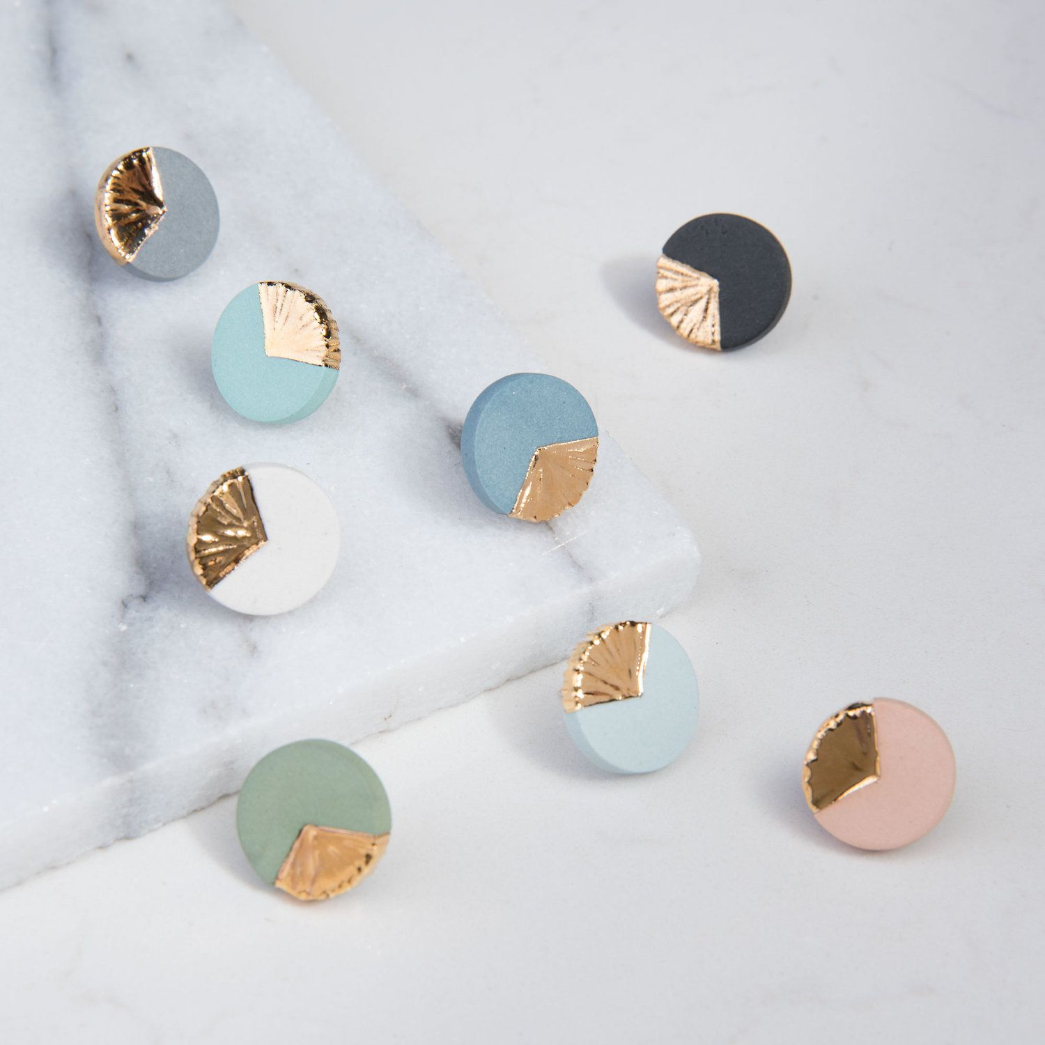 polymer clay and sterling silver Mint and gold stud earrings