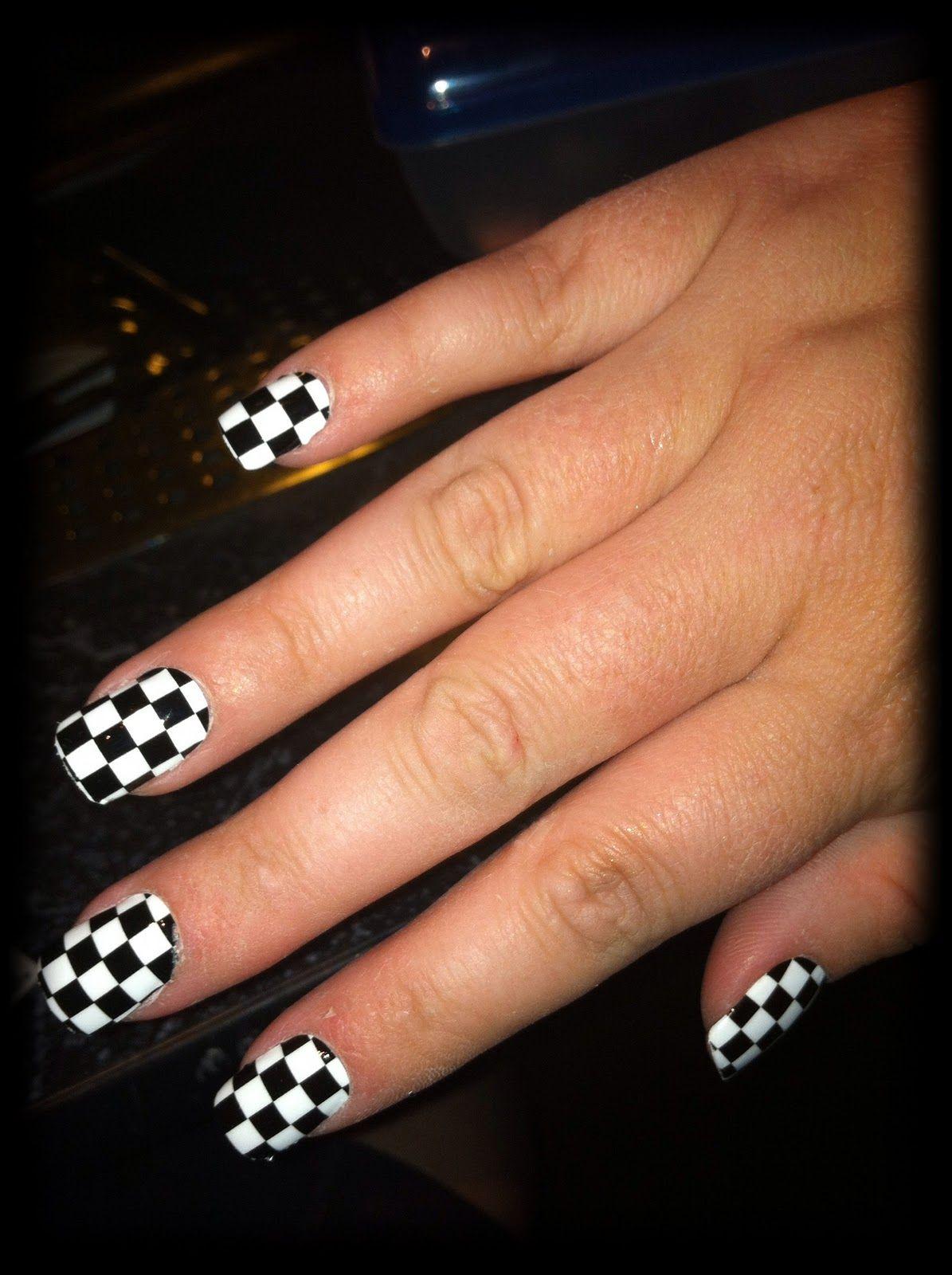 Black White Checkers Racing Nails Checkered Nails Nail Polish