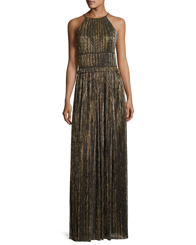 Metallic Plissé Halter Gown, Black/Gold