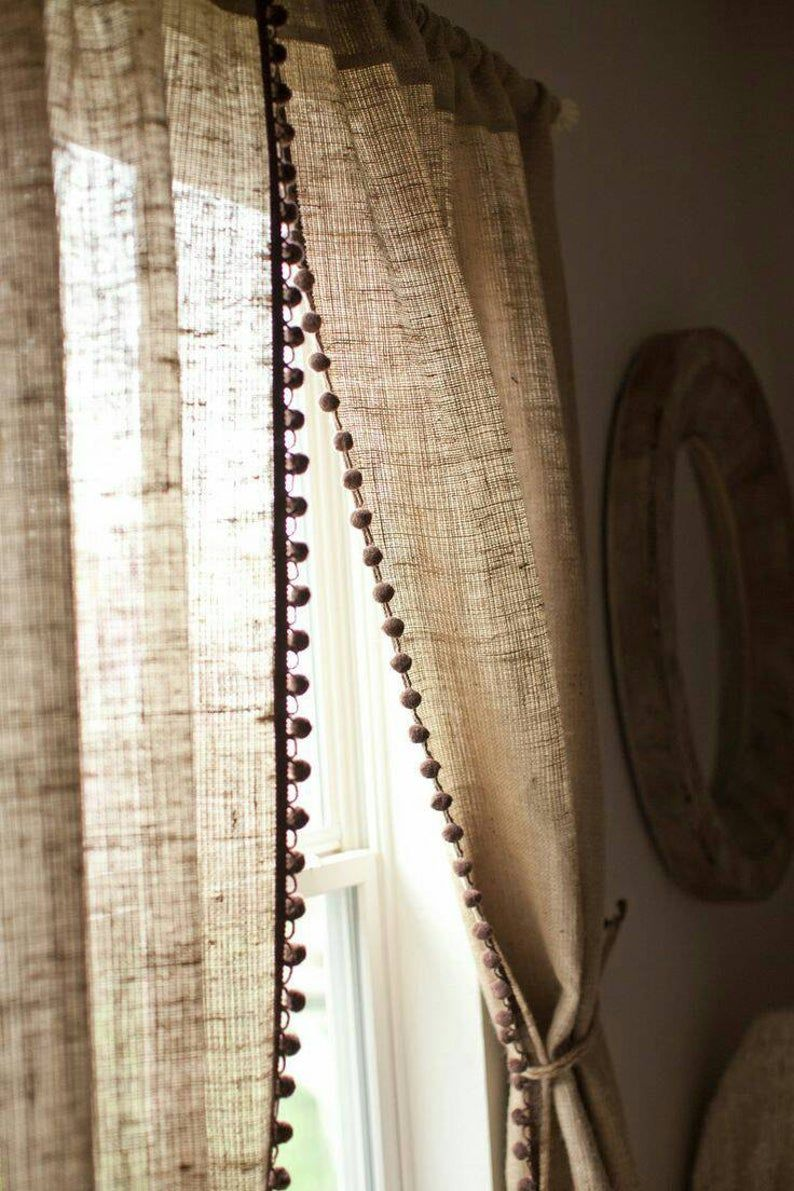 Natural Burlap Curtain Panel With Pom Pom Trim Country Etsy In