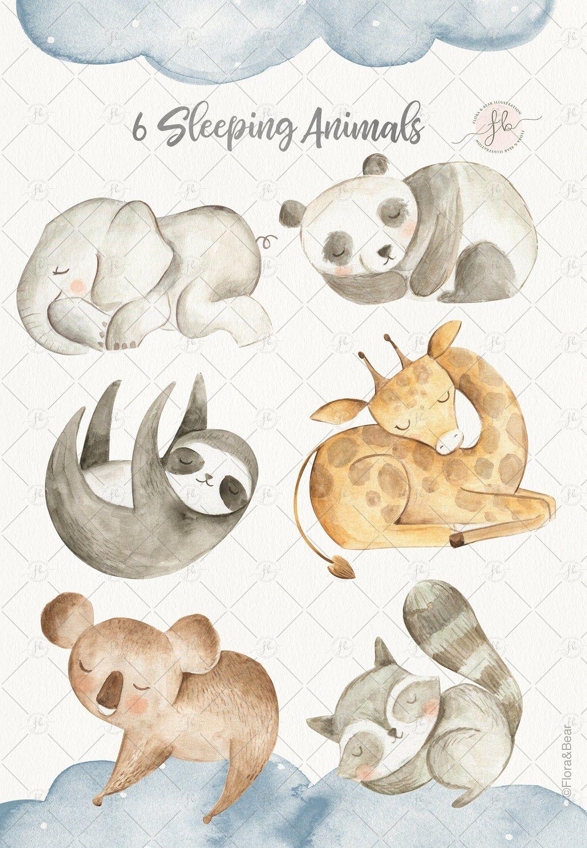 Baby Animals Watercolor Clipart Digital Download Nursery Art Woodland Elephant Sloth Panda Clip Art Printable Baby Shower Sleeping Animals Watercolor Animals Etsy Nursery Art