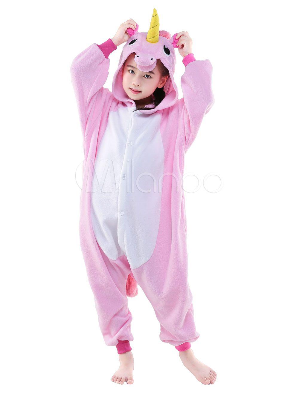 Kigurumi Pajama 2018 Pink Licorne Unicorn Onesie Kid Flannel Sleepwear Costume  Halloween 264415c21