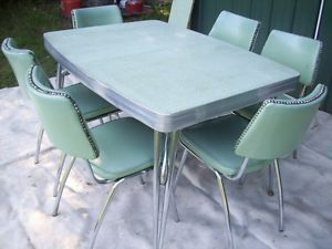 Retro 1950s Vtg Chrome Formica Table 6 Chairs Kitchen Dining Set Aqua Vinyl