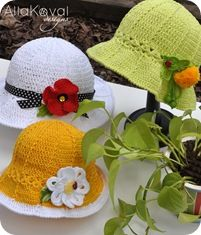 Garden Party. Crochet Hat Free pattern for Kids & Adult