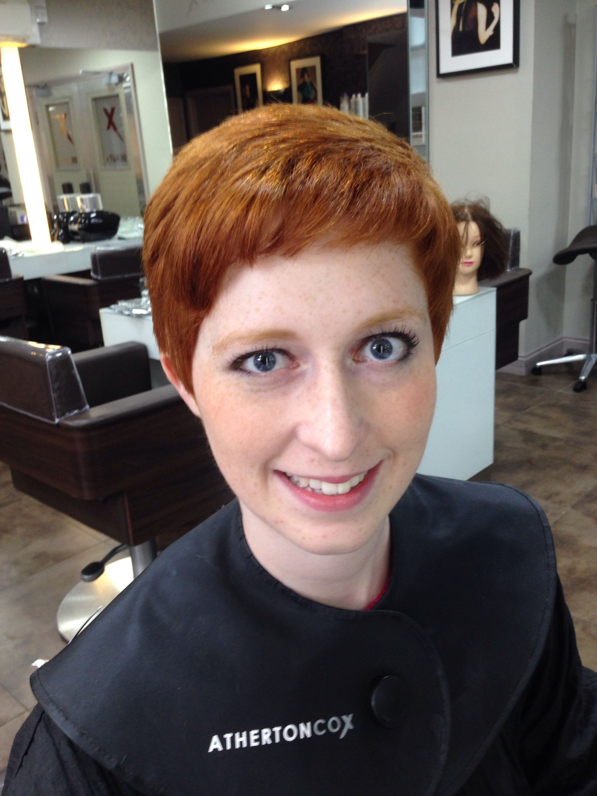 After photo of a haircut, short graduation and texturised the hair as it was really thick, I also layered the top
