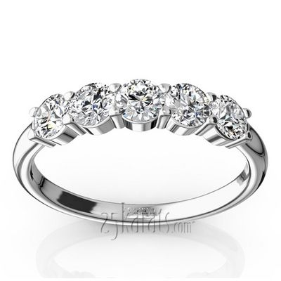 Classic 5 Stone Closed Basket Anniversary Band 3 4ct T W