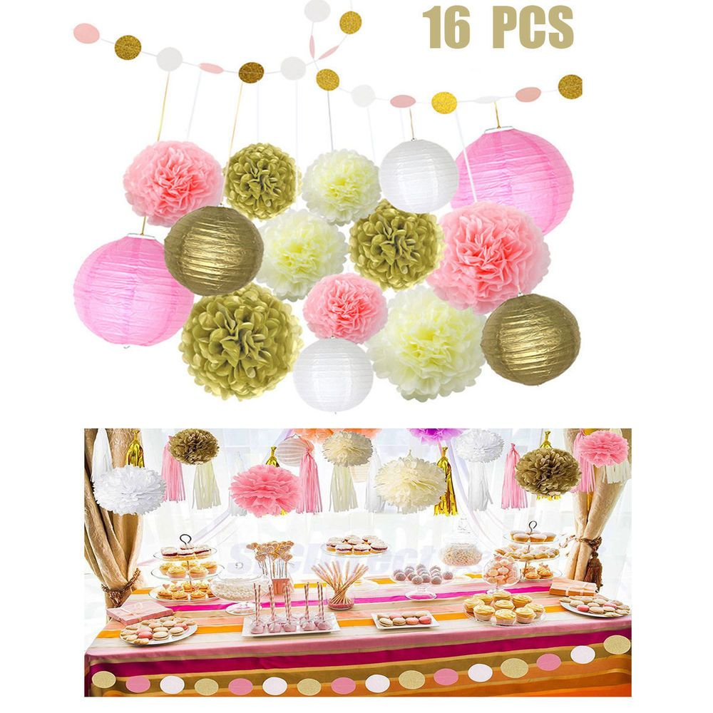 Wedding decoration ideas with balloons  pcs Tissue Paper Pompoms Fans Honeycomb Balls Paper Lanterns