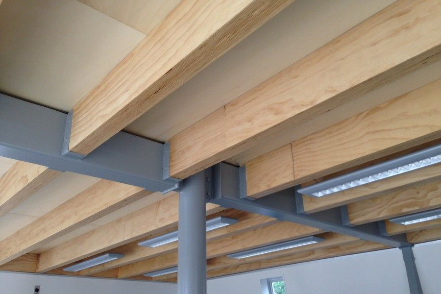 I Built 90 Lvl Exposed Joists And Rafters Nz Wood Products Steel Frame House Modern House Plan Timber Ceiling