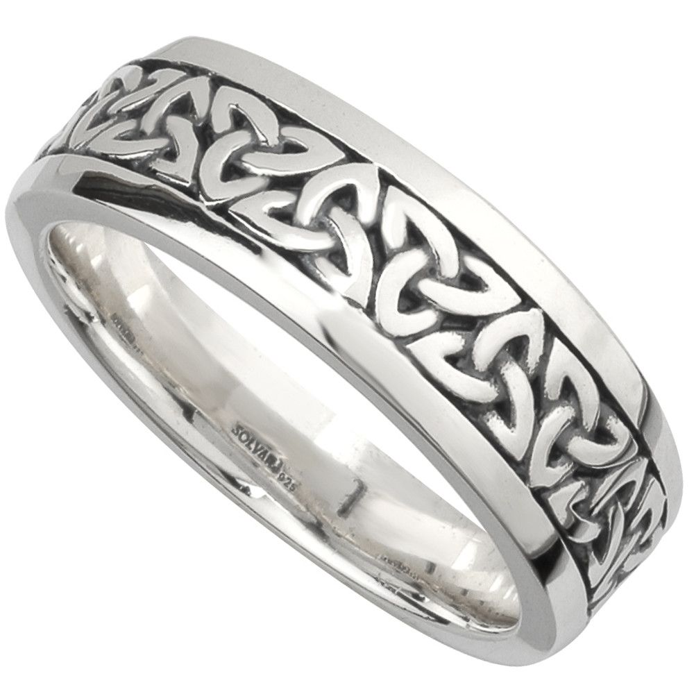 925 Sterling Silver Celtic Trinity Knot Unisex Wedding Band Ring - 6mm Width cff1boo2