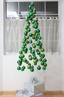 Love This Virtual Christmas Tree Made Of Hanging Ornaments Christmas Diy Alternative Christmas Tree Diy Christmas Tree