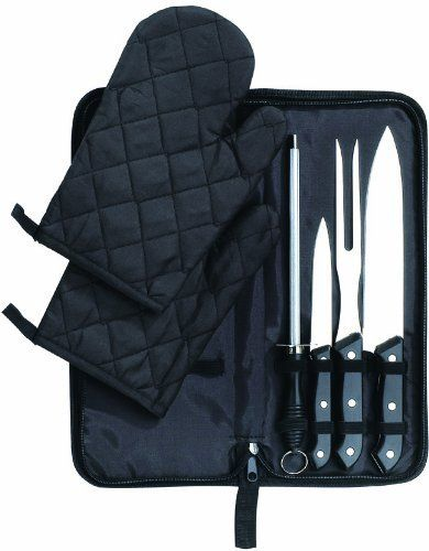 KitchenWorthy 7 Piece Chef Set (Case of 12) by KitchenWorthy. $79.99. 2 mitts.  Sharpener.  Paring knife.  Fork.  Full Tang Cutlery.  Zipper storage case.. The KitchenWorthy 7 Piece Chef set is perfect for the kitchen or outside with the BBQ. The set features a complete carving and chef's set.      Case of: 12.   Manufacturer: KitchenWorthy.   Retail Packaged: Color gift box.   UPC Coded: Yes.   Materials: Metal and plastic.   Dimensions: Pouch: 14.25 inches H...