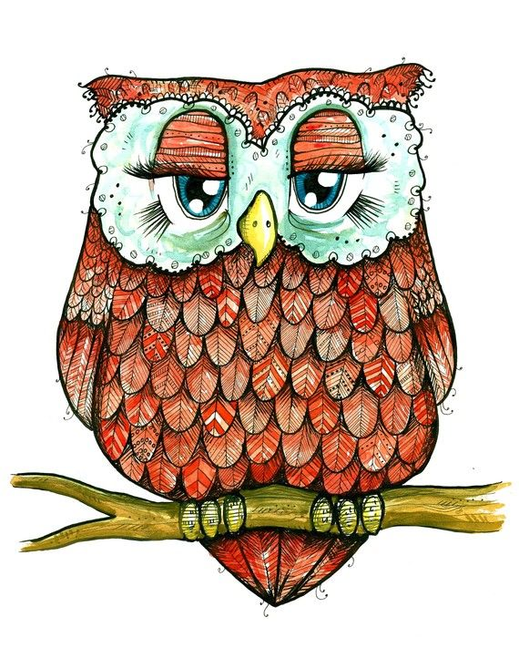 Red+Owl++Ink+and+Watercolor+Feathery+Friend+by+taramcauley+on+Etsy,+$10.00