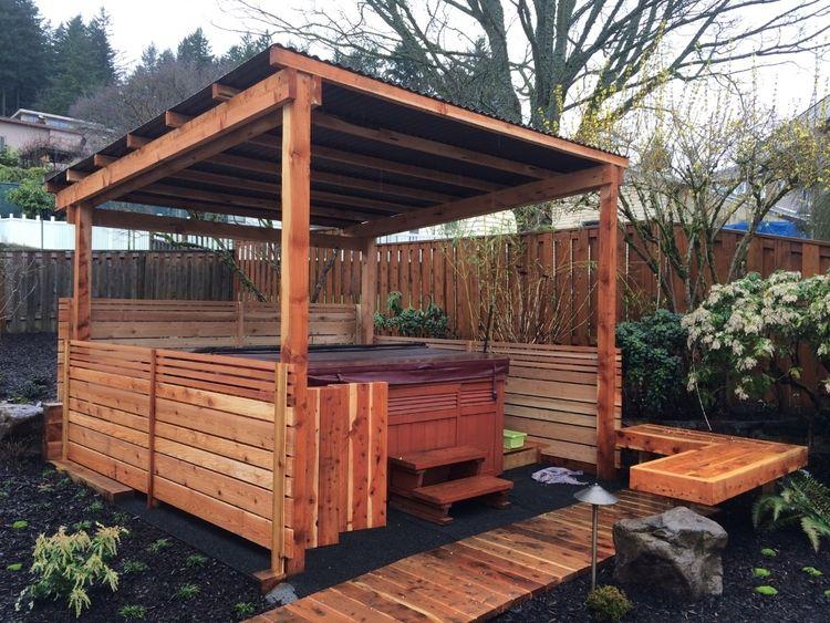 Hot Tub Enclosure With Horizontal Slats Hot Tub Backyard Hot