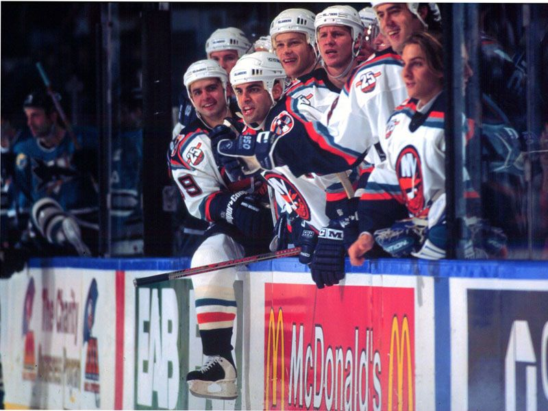 New York Islander bench. (Photo by Bruce Bennett Studios/Getty Images)  See more frozen moments here - http://nyisl.es/9h4Yu