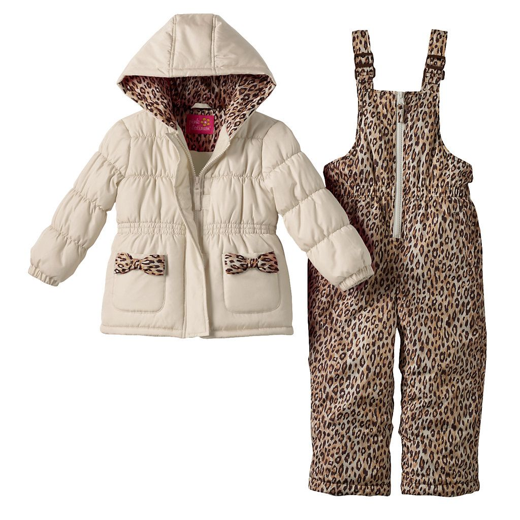 26e9bde17120 Pink Platinum Leopard Hooded Jacket   Bib Snow Pants Set - Toddler ...