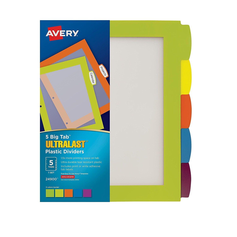 Amazoncom Avery Ultralast Big Tab Plastic Dividers Tabs Set - Avery 5 tab index template